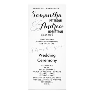 Simple faux silver foil chic Wedding Program Custom Rack Card