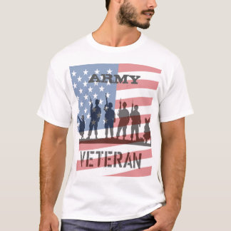 Simple Flag and Soldiers Army Veteran T-Shirt