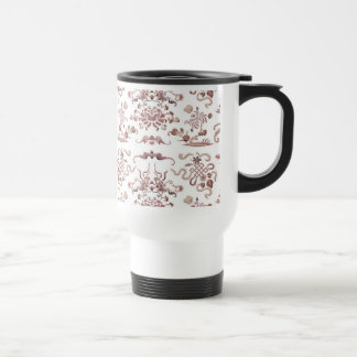 Simple Floral and Shapes on White Stainless Steel Travel Mug