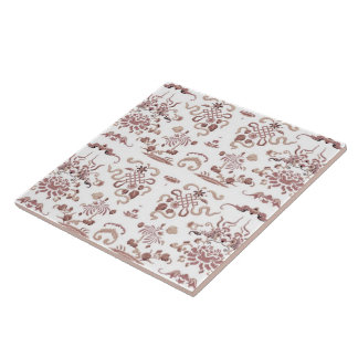 Simple Floral and Shapes on White Tiles