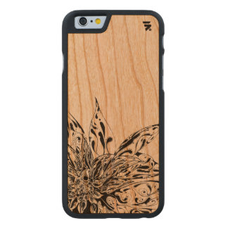 Simple Floral Design on wood back Carved Cherry iPhone 6 Case