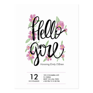 Simple floral Hello girl baby shower invitation Postcard