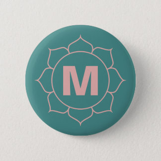 Simple Floral Monogram Pin Button