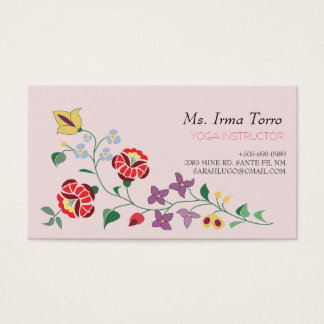 simple floral motif business card
