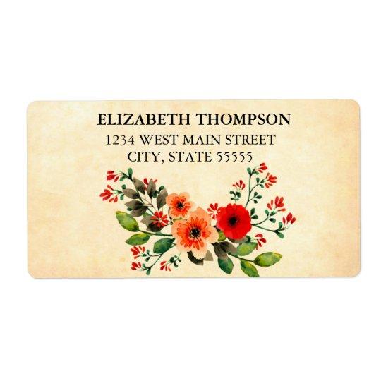 Simple Floral Return Label