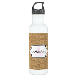 Simple floral rustic burlap texture 710 ml water bottle