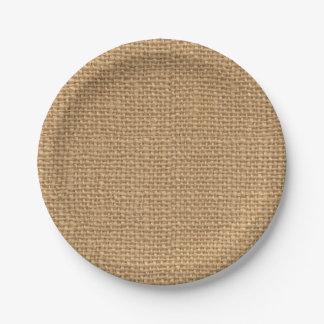 Simple floral rustic burlap texture 7 inch paper plate