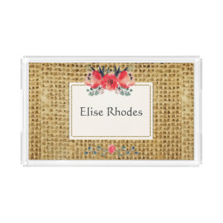 Simple floral rustic burlap texture acrylic tray