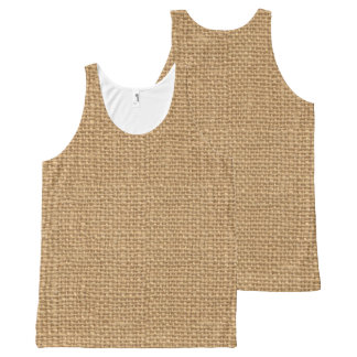 Simple floral rustic burlap texture All-Over print singlet