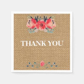 Simple floral rustic burlap texture disposable serviettes