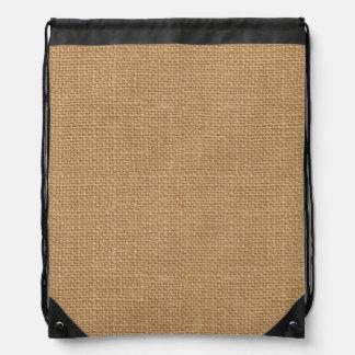 Simple floral rustic burlap texture drawstring bag