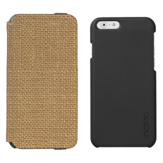 Simple floral rustic burlap texture incipio watson™ iPhone 6 wallet case