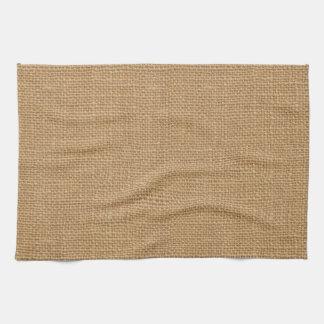 Simple floral rustic burlap texture kitchen towel