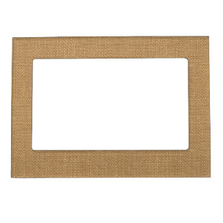 Simple floral rustic burlap texture magnetic picture frame