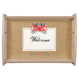 Simple floral rustic burlap texture serving tray