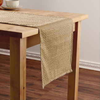 Simple floral rustic burlap texture short table runner