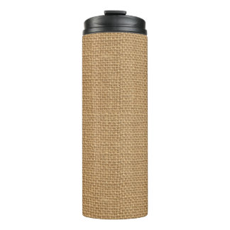 Simple floral rustic burlap texture thermal tumbler