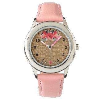 Simple floral rustic burlap texture watch