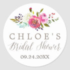 Simple Floral Watercolor Bouquet Bridal Shower Classic Round Sticker