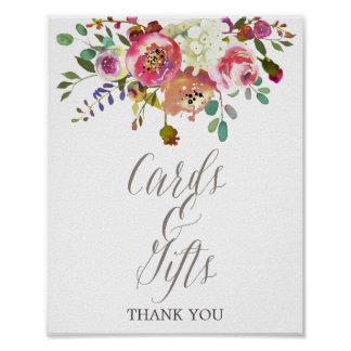 Simple Floral Watercolor Bouquet Cards & Gifts Poster