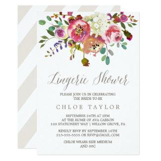 Simple Floral Watercolor Bouquet Lingerie Shower Card