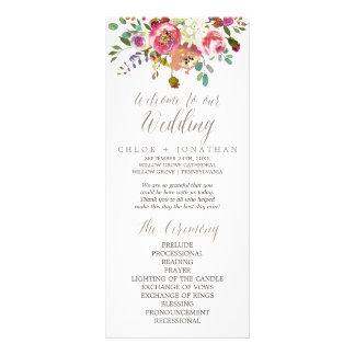 Simple Floral Watercolor Bouquet Wedding Program Rack Card