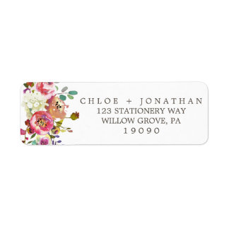Simple Floral Watercolor Bouquet Wedding Return Address Label