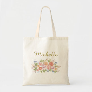 Simple Floral with Name Tote Bag