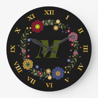 Simple Floral Wreath Monogrammed Initial on Black Large Clock