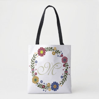 Simple Floral Wreath Monogrammed Initial on White Tote Bag