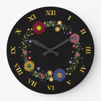 Simple Floral Wreath on Black Large Clock