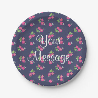 Simple flower pattern personalized navy plates 7 inch paper plate