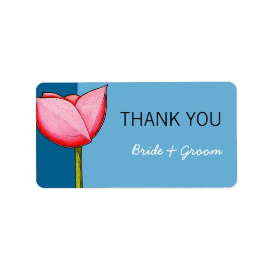Simple Flowers blue Wedding Thank You Sticker Address Label