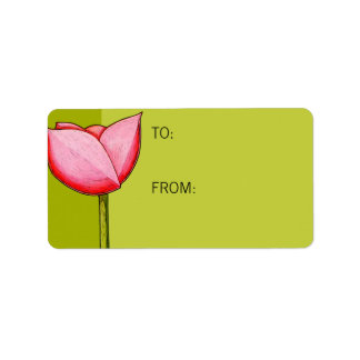Simple Flowers green Gift Tag Address Label
