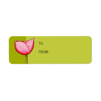 Simple Flowers green Small Gift Tag Return Address Label