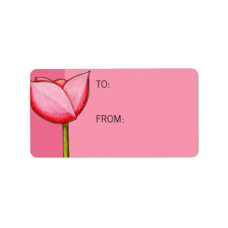 Simple Flowers pink Gift Tag Address Label