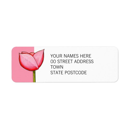 Simple Flowers pink Return Address Label