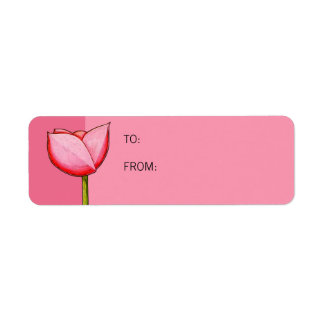 Simple Flowers pink Small Gift Tag Return Address Label