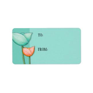 Simple Flowers teal orange Gift Tag Address Label