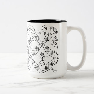 Simple Folk - Sarah Fielke Block of the Month 2018 Two-Tone Coffee Mug