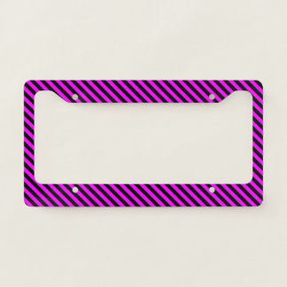 Simple Fuchsia & Black Stripes Pattern Licence Plate Frame