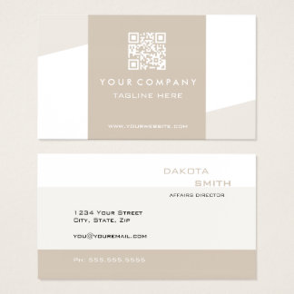 Simple  Geometric QR Code Cappuccino Business Card