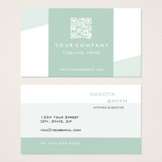 Simple  Geometric QR Code Seafoam Green Business Card