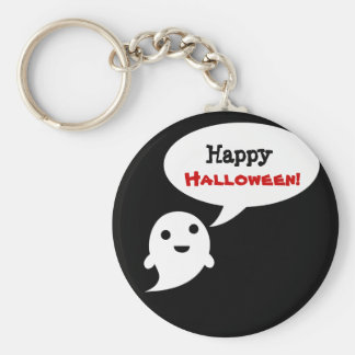 Simple Ghost Speech Happy halloween Key Chain