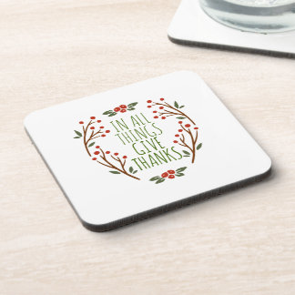 Simple Give Thanks Thanksgiving | Coaster