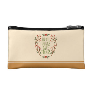 Simple Give Thanks Thanksgiving | Cosmetic Bag