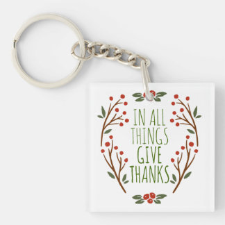 Simple Give Thanks Thanksgiving | Keychain