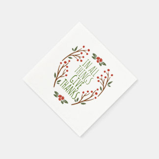Simple Give Thanks Thanksgiving | Napkin Paper Napkin