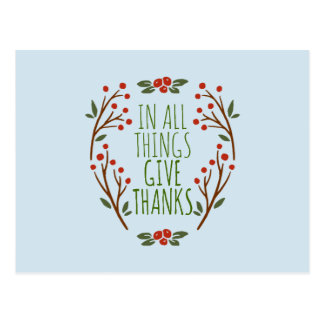 Simple Give Thanks Thanksgiving | Postcard