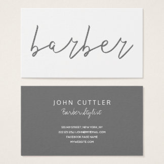 Simple glitter grey charcoal barber typography business card
